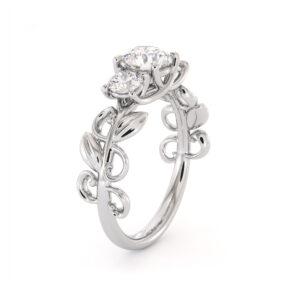 Moissanite Three Stone Engagement Ring Diamond Alternative Three Stone Ring Leaves Ring Leaf Ring For Her