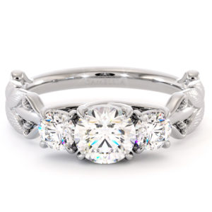 Moissanite Engagement Ring Three Stone Ring Handmade Ring Unique White Gold Ring Plant Foliage Ring