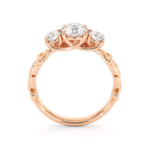 Moissanite Engagement Ring Three Stone Ring Handmade Ring Unique Rose Gold Ring Plant Foliage Ring