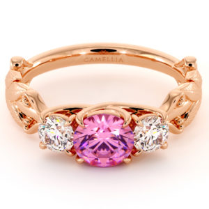 Three Stone Engagement Ring Pink Sapphire Ring Moissanite Ring Rose Gold Ring Natural Gemstone Ring