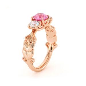 Three Stone Engagement Ring Pink Sapphire Ring Moissanite Ring Rose Gold Ring Natural Gemstone Ring