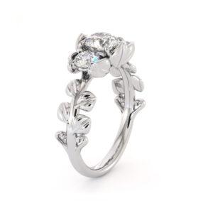 Moissanite Three Stone Engagement Ring Three Stone Ring Plant Foliage Ring