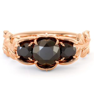Black Diamond Three Stone Engagement Ring Three Diamonds Ring Plant Foliage Ring