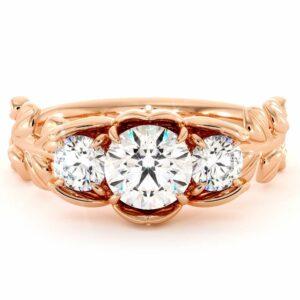 Moissanite Three Stone Engagement Ring Diamond Alternative Three Stone Ring Leaves Ring Plant Foliage Ring