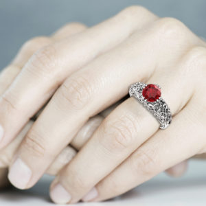 Gold Ruby Engagement Ring Filigree Ruby Ring Gemstone Ring For Her 14K Engagement Ring