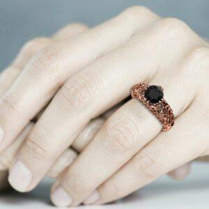 Engagement Ring Black Diamond 14K Rose Gold Ring Anniversary Gold Ring