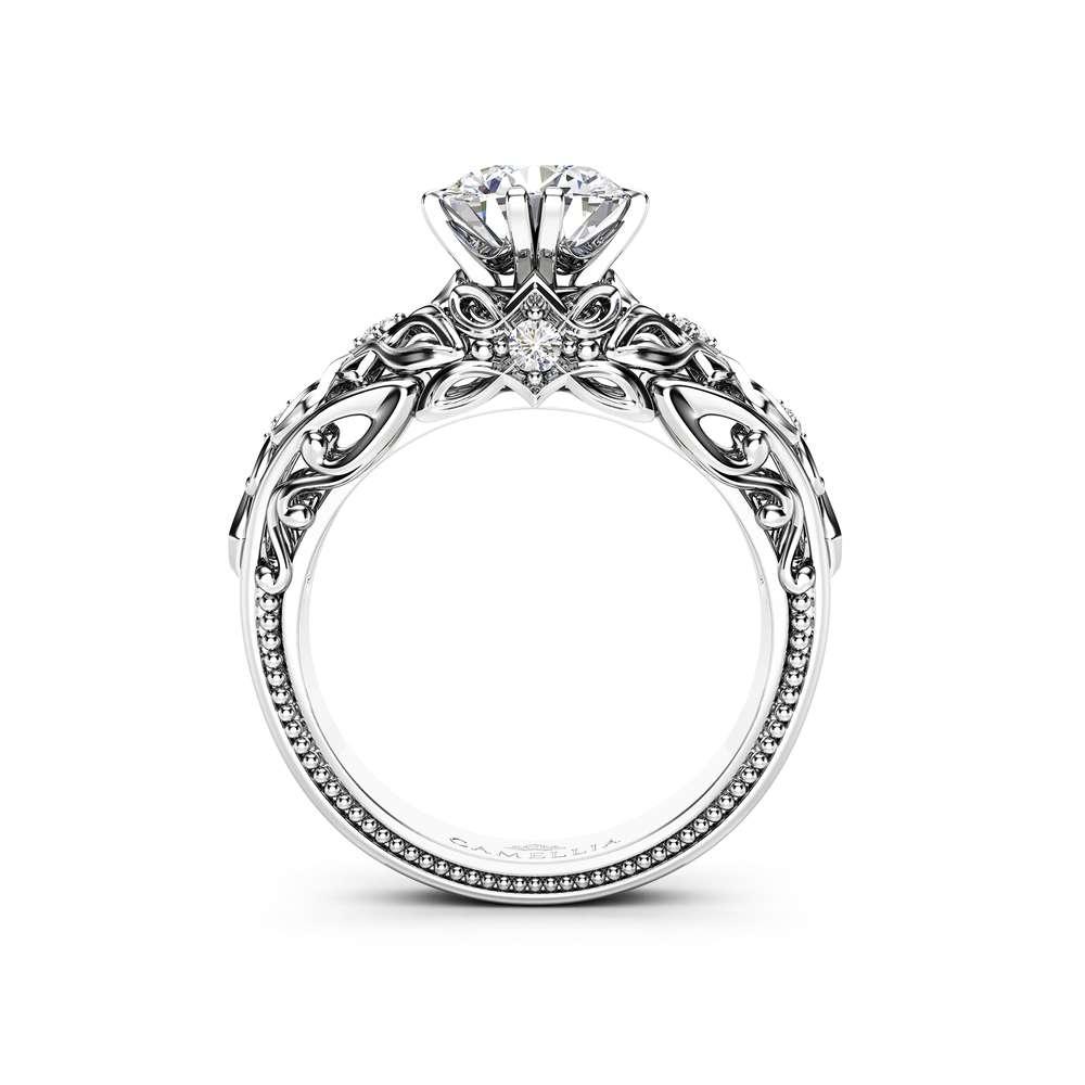 Moissanite Engagement Ring Forever One Round Brilliant Moissanite Engagement Ring White Gold Promise Ring