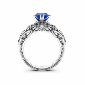 Gemstone Sapphire Engagement Ring September Birthstone Ring Brilliant Cut White Gold Ring