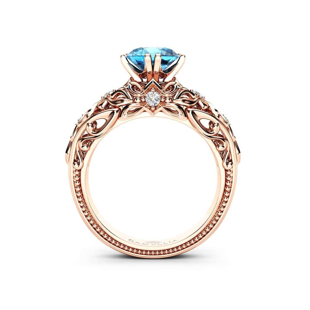 Blue Diamond Engagement Ring Diamond Anniversary Ring 14K Rose Gold Diamonds Ring
