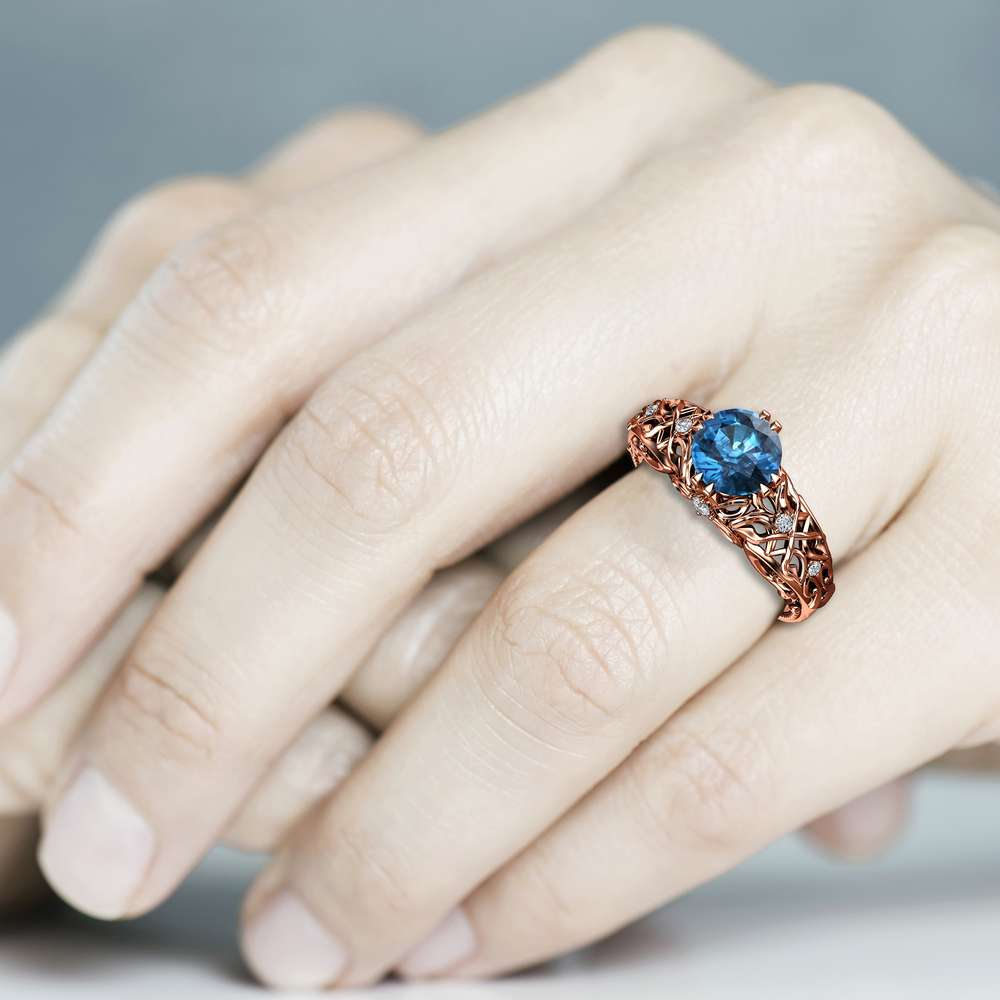 Blue Diamond Engagement Ring Diamond Anniversary Ring 14K Rose Gold Diamonds Ring