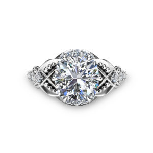 2ct Moissanite Vintage Engagement Ring 14K White Gold Engagement Ring Vintage Moissanite Ring