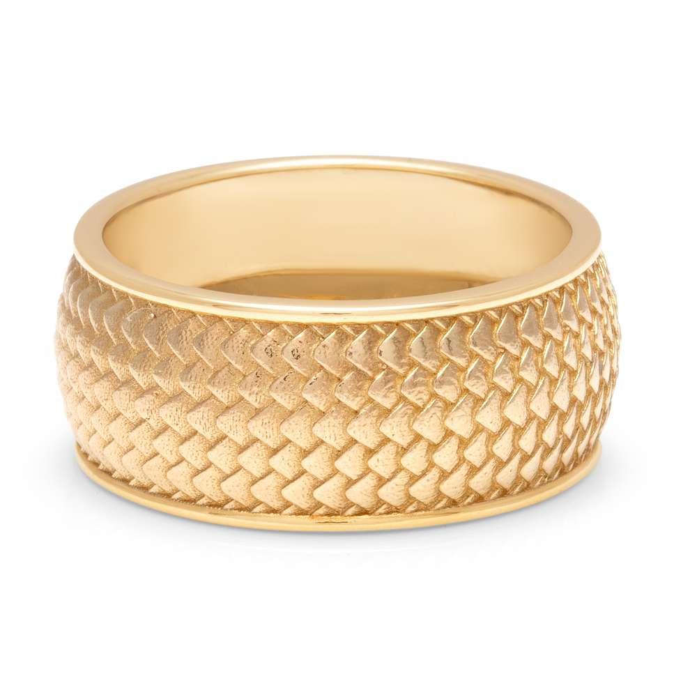 Mens Gold Scale Wedding Band 14K Solid Gold Mens Band Dragon Skin Wedding Ring For Men