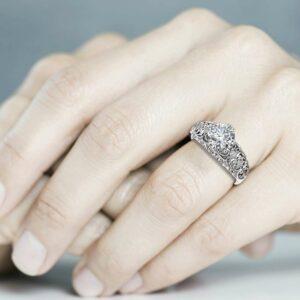 Moissanite Alternative Engagement Ring White Gold Diamond Alternative Ring Round Shape Diamonds Ring