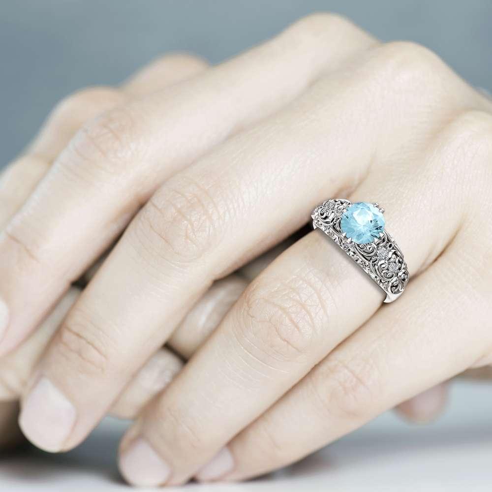 Aquamarine Engagement Ring Solid White Gold Ring Natural Gemstone Ring Unique Vintage Filigree Engagement Ring