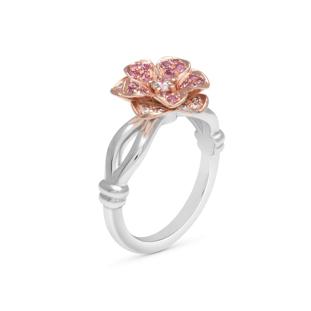 Dainty Floral Diamond Engagement Ring Two Tone Gold Floral Ring Promise Ring Morning Dew Collection By Camellia Jewelry