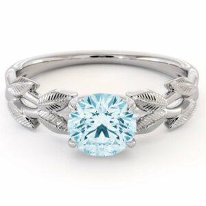 Unique Aquamarine Engagement Ring White Gold Aquamarine Ring Unique Design Gemstone Anniversary Gift
