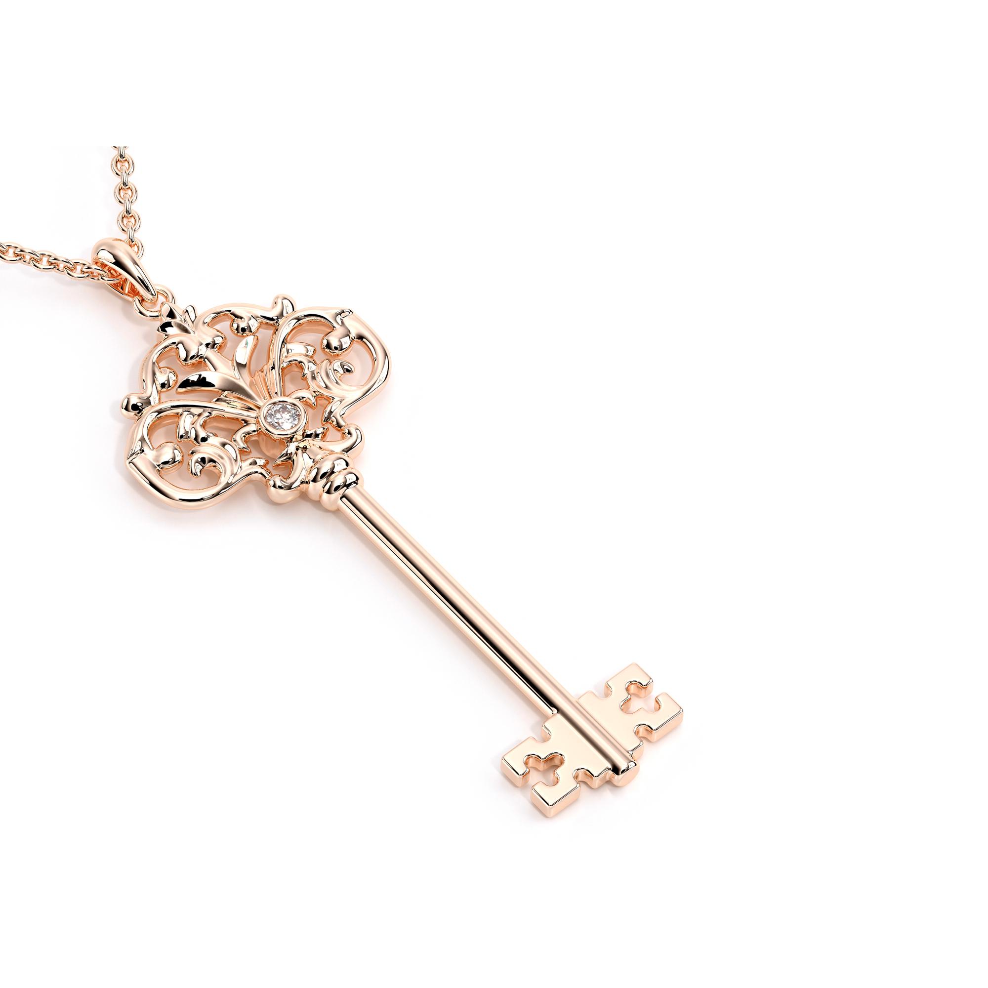 Rose Gold Pendant Diamond Key Necklace Unique Gift For Women
