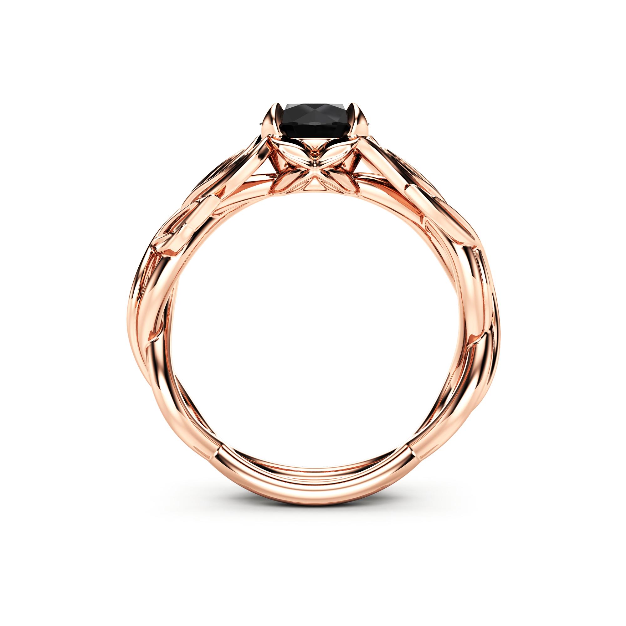 Rose Gold Leaf Ring Black Diamond Leaves Engagement Ring Autumn Ring