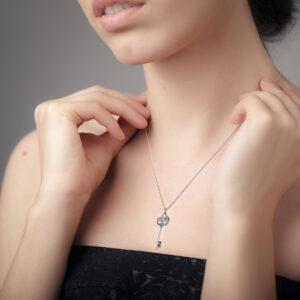 Necklace Heart Shape Pendant White Gold Key Chain Impressive Pendant Anniversary Gift