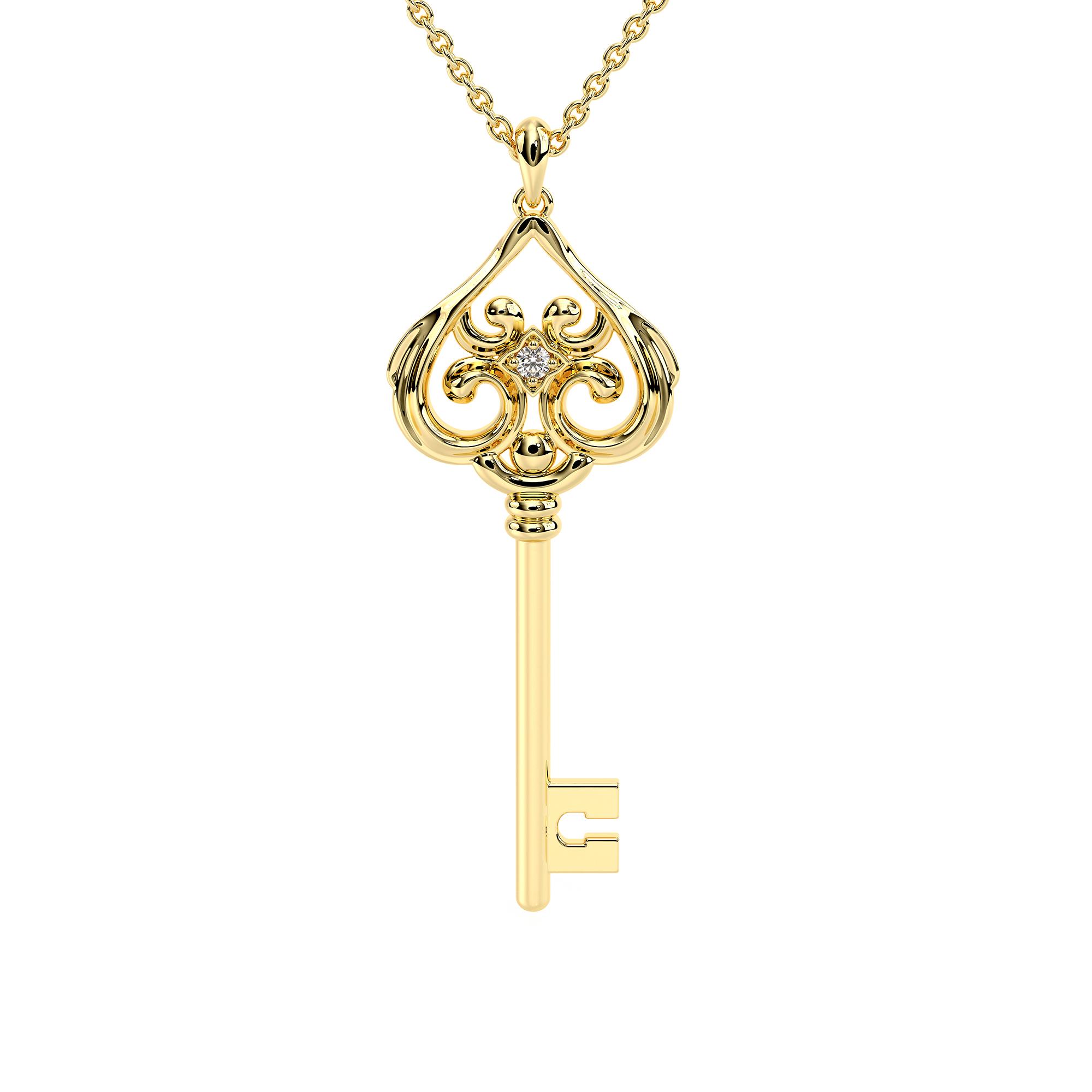 Love Necklace Gold Key Unique Bridal Jewelry Wedding Pendants
