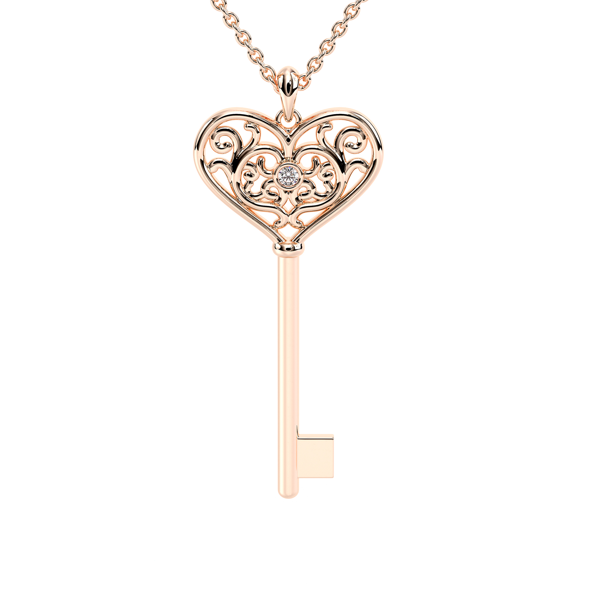 Heart Key Chain Womens Gift Solid Rose Gold Diamond Pendant Necklace Love Pendant