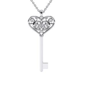 Heart Key Chain Womens Gift Solid White Gold Pendant Diamond Pendant Necklace Love Pendant