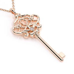 Diamond Key Pendant Diamond Necklace Rose Gold Art Deco Style Pendant Unique Gift For Her