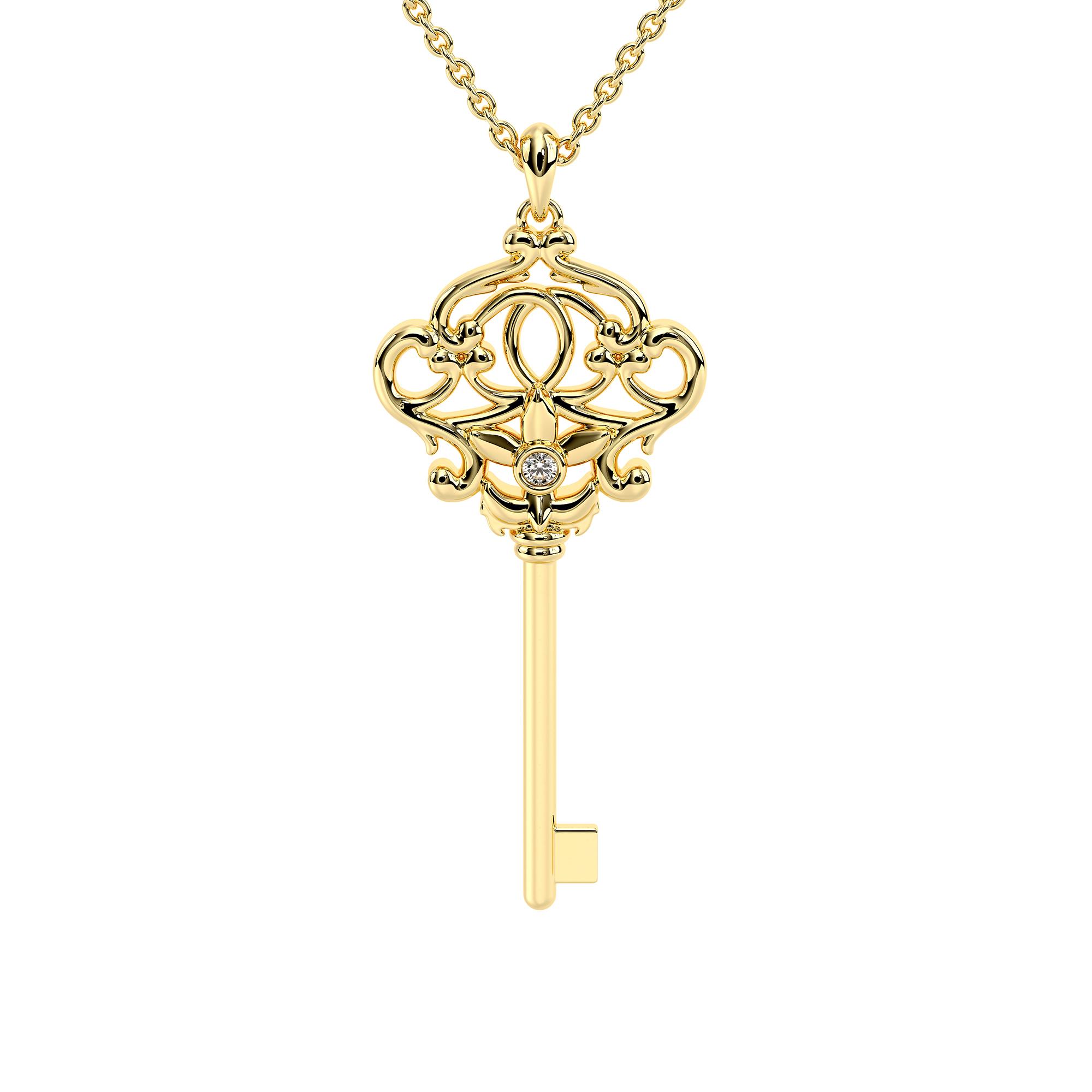 Diamond Key Pendant Yellow Gold Necklace Art Deco Style Pendant Unique Gift For Her