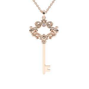 Diamond Key Pendant Diamond Pendant Rose Gold Necklace Art Deco Style Pendant Fine Jewelry Gift For Her