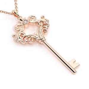 Diamond Key Pendant Diamond Pendant Rose Gold Necklace Art Deco Style Pendant Fine Jewelry Gift For Her
