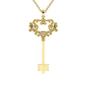 Art Deco Key Pendant Diamond Necklace Dainty Key Necklace Anniversary Gift