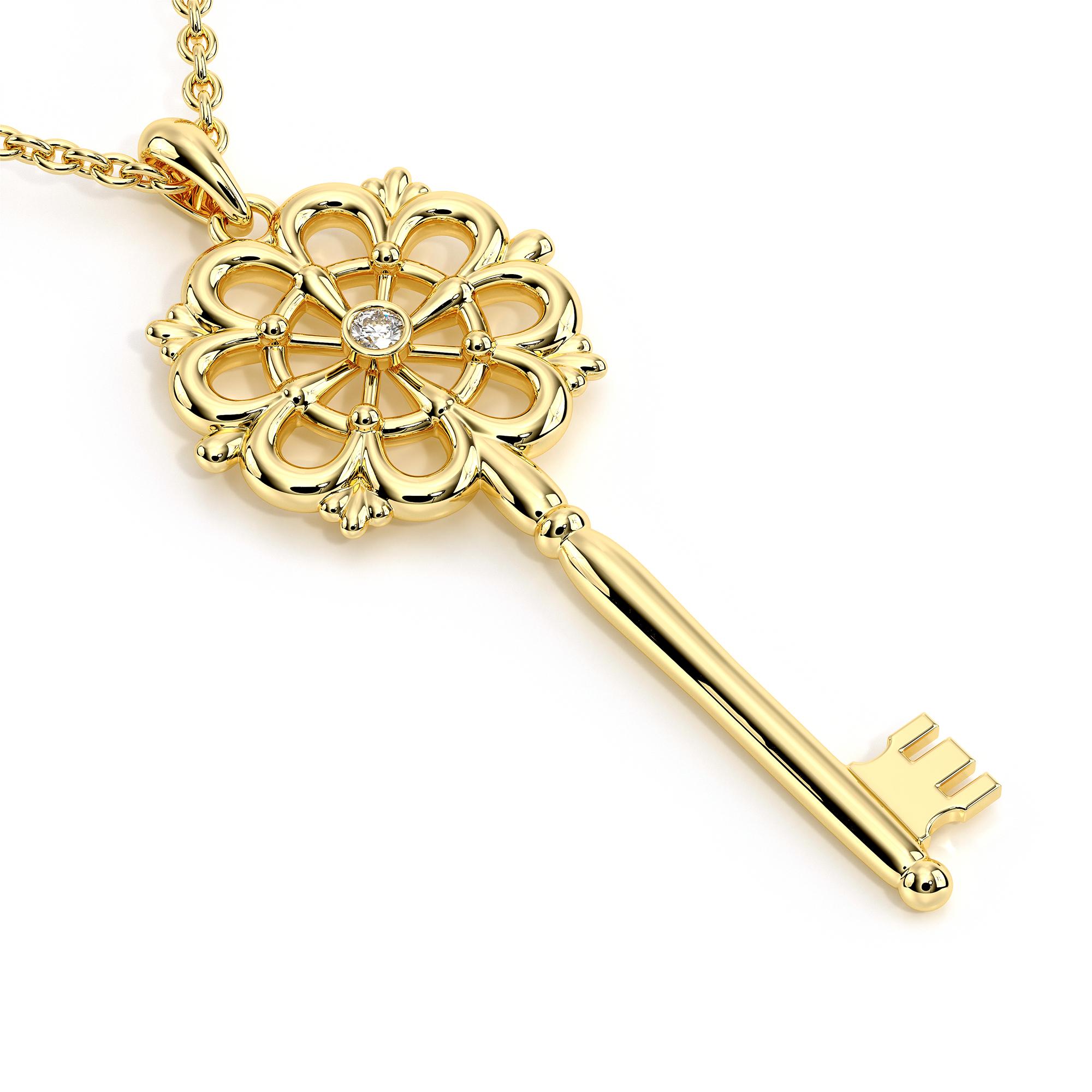 Shiny Gold Key Pendant Unique Diamond Necklace Fine Jewelry Gold Filigree Key