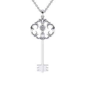 Key Edwardian Pendant Necklace Gift For Her White Gold Bridal Jewelry