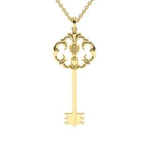 Key Edwardian Pendant Necklace Gift For Her 14K Solid Gold Bridal Jewelry