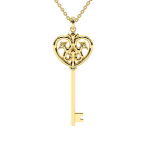 Gold Necklace For Womens 50mm Pendant Key Unique Necklace Perfect Gift For Her