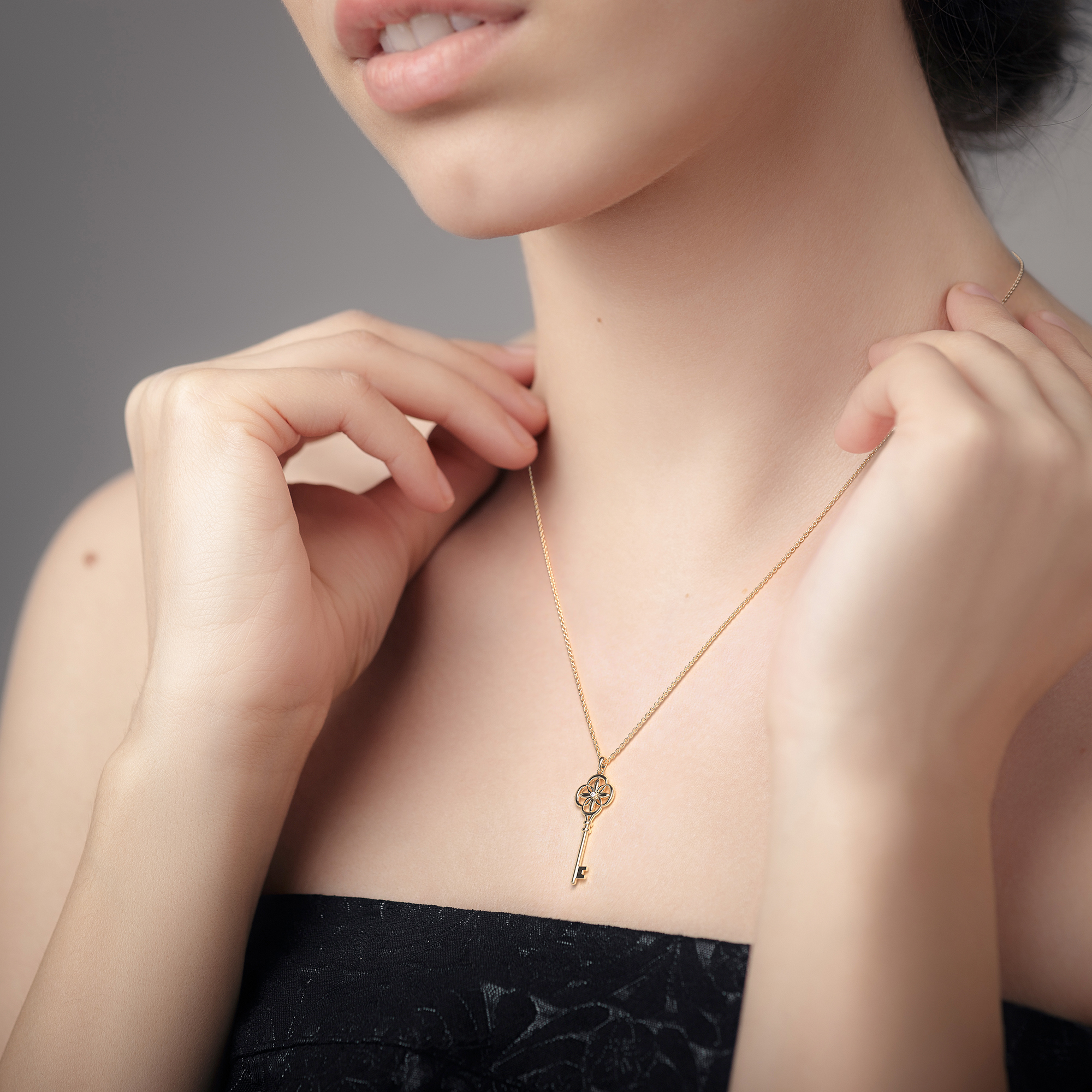 Diamond Key Pendant Necklace Womens Gift 14K Solid Gold Bridal Jewelry