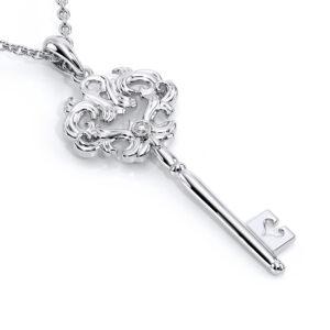 Edwardian Necklace White Gold Pendant Edwardian Inspired Jewelry Unique Diamond Pendant