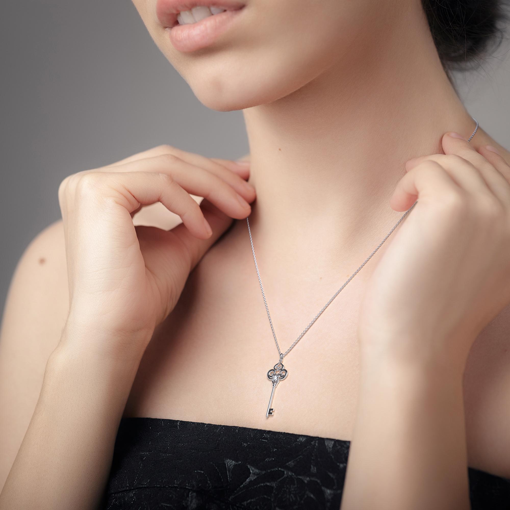 14K White Gold Pendant Diamond Key Pendant Clover Key Pendant Necklace Unique Gift For Women