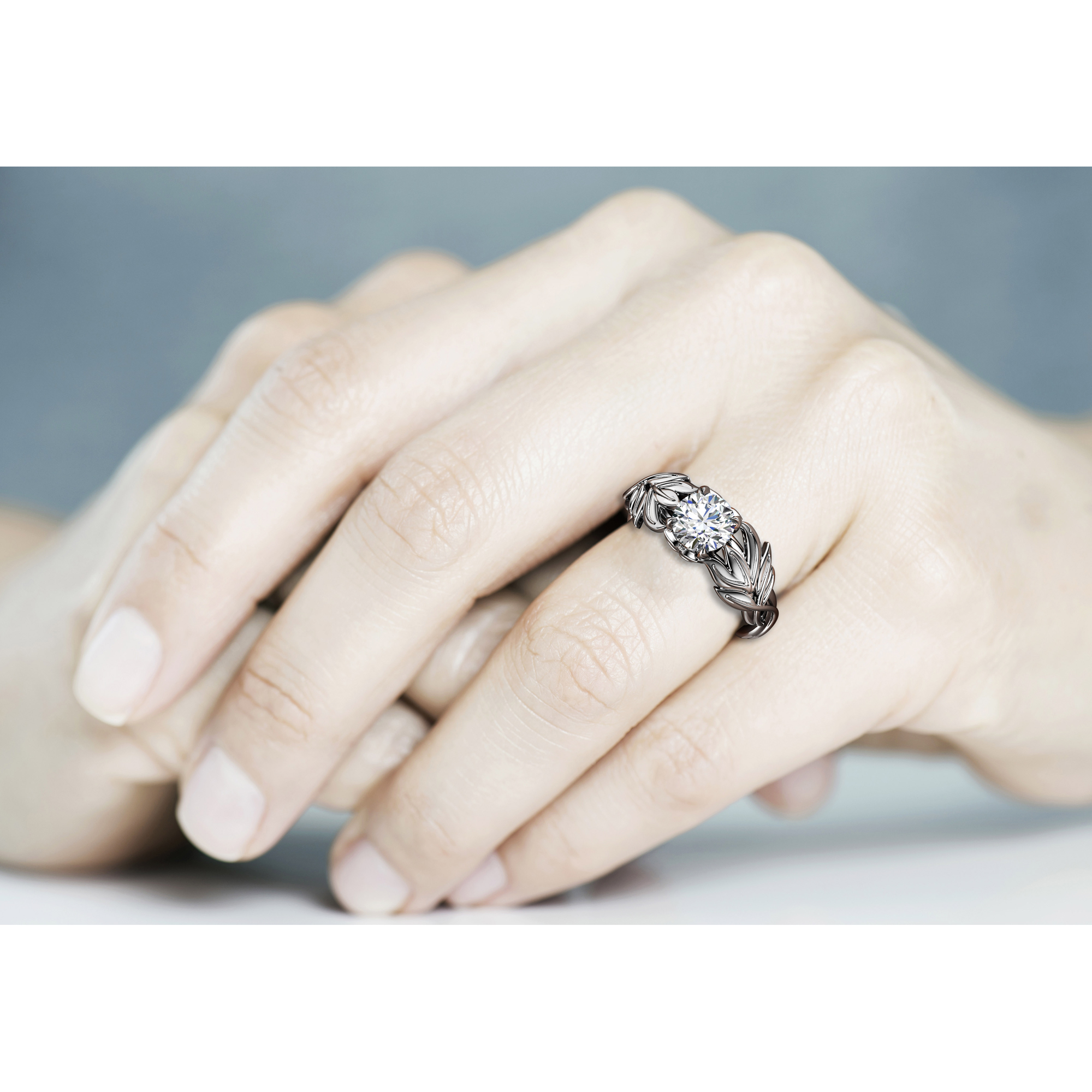 1 Carat Leaf Engagement Ring Forever One Moissanite Ring Solid White Gold Inspired by Nature Ring