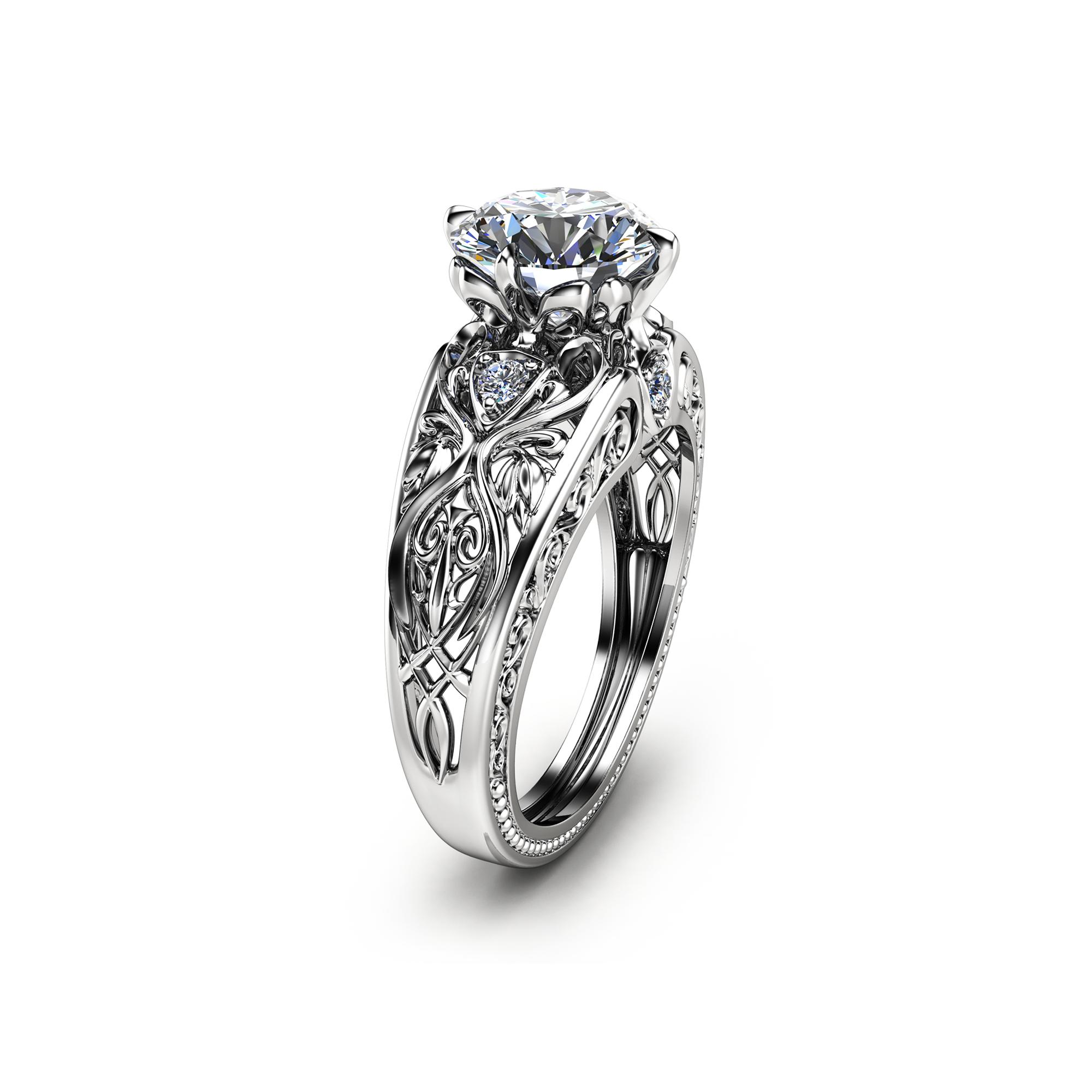 14K White Gold Moissanite Engagement Ring Art Deco Styled Ring Unique Design Wedding Ring