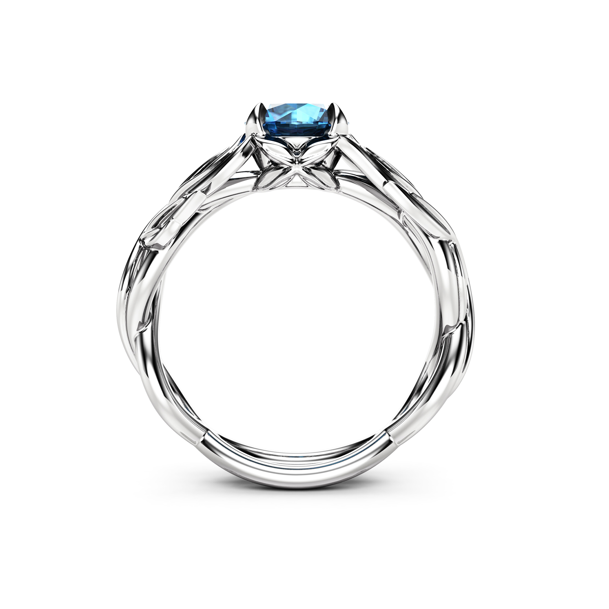 Nature Inspired Ring Natural Blue Diamond Engagement Ring 14K White Gold Ring Leaf Ring
