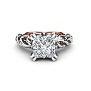 Unique Solitaire Engagement Ring Wild Nature Ring Princess Cut Moissanite Ring 18K Rose and White Gold Engagement Ring