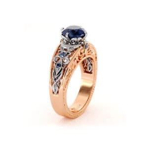 Art Deco Sapphire Engagement Ring Blue Gemstone Ring Vintage Sapphire Gold Ring Proposal Engagement Ring