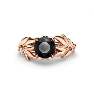 Rose Gold Leaf Ring Black Diamond Leaves Engagement Ring Autumn Ring