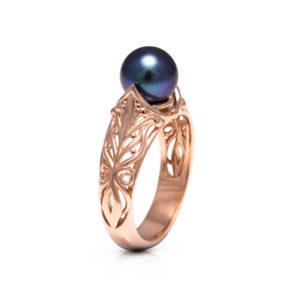 Black Pearl Engagement Ring Rose Gold Ring Solitaire Engagement Ring Art Deco Design Ring