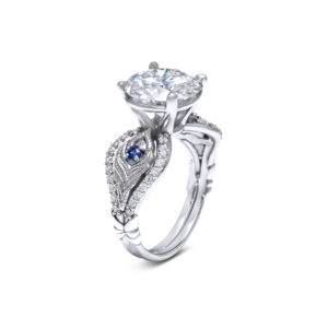 Unique Peacock Ring White Gold Feather Ring 4 Carat Moissanite Ring Unique Jewelry Gift
