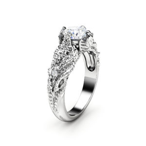 Art Nouveau Moissanite Engagement Ring 14K Solid White Gold Wedding Ring Nature Inspired Engagement Ring