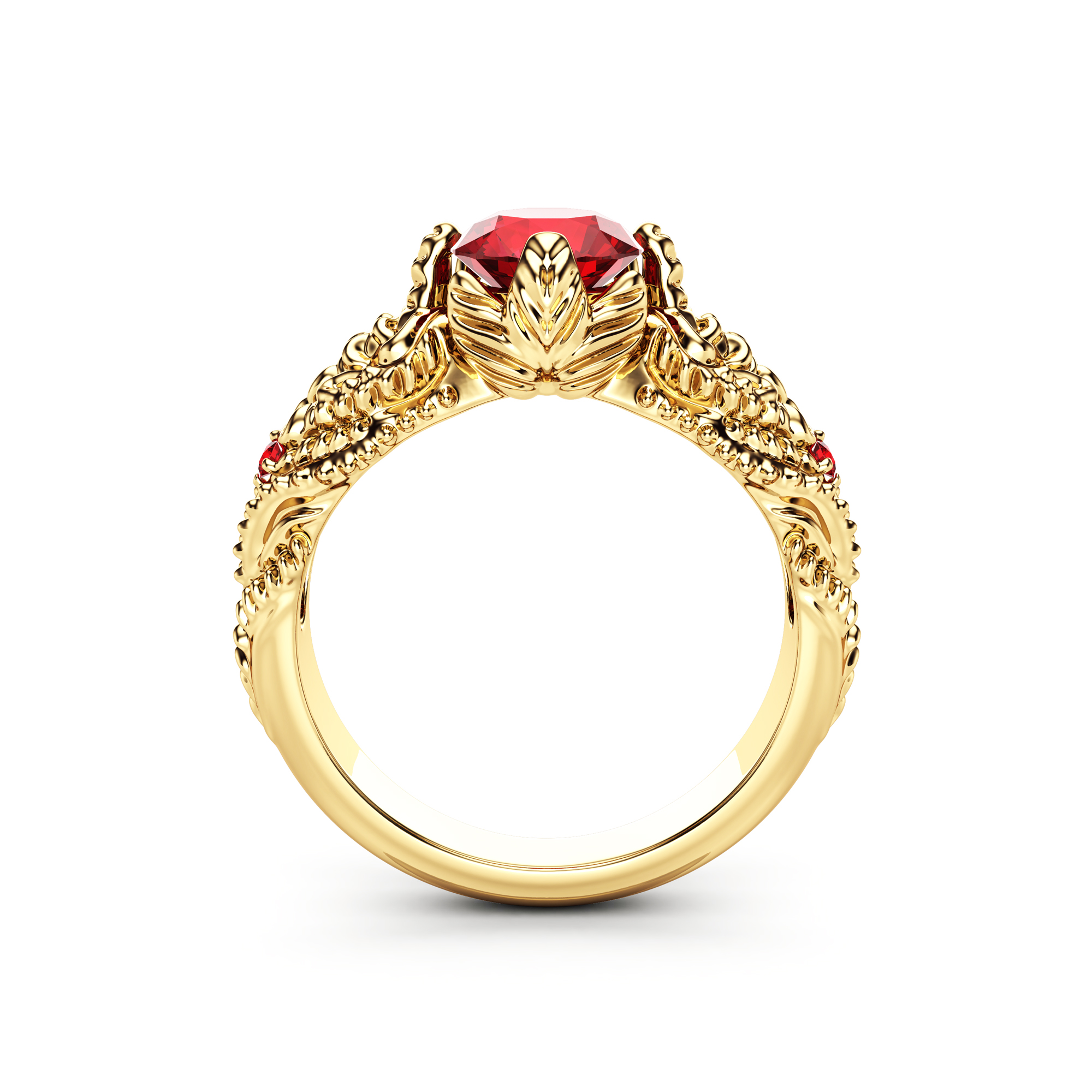 Art Nouveau Ruby Engagement Ring 14K Solid Yellow Gold Wedding Ring July Birthstone Ring