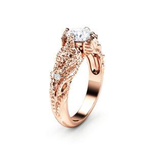 Art Nouveau Moissanite Engagement Ring 14K Solid Rose Gold Wedding Ring Nature Inspired Engagement Ring