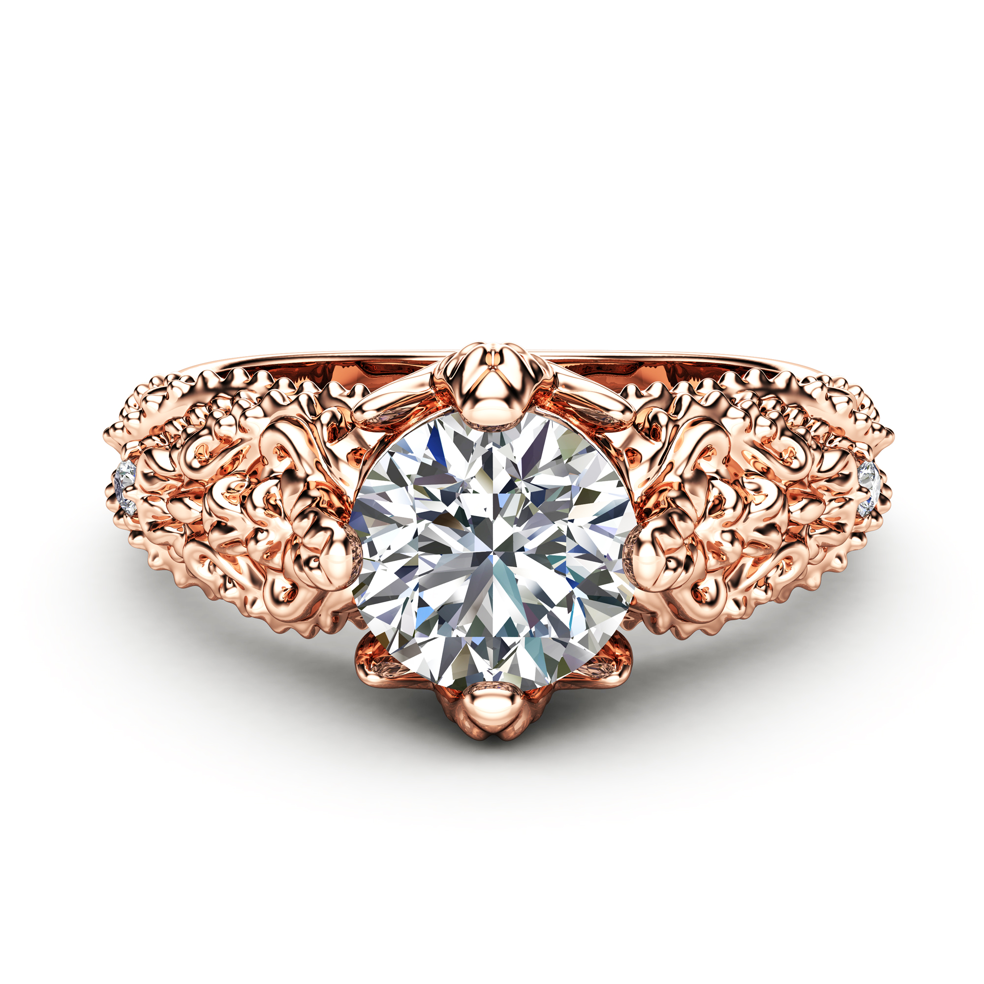Art Nouveau Moissanite Engagement Ring 14K Solid Rose Gold Wedding Ring Nature Inspired Engagement Ring